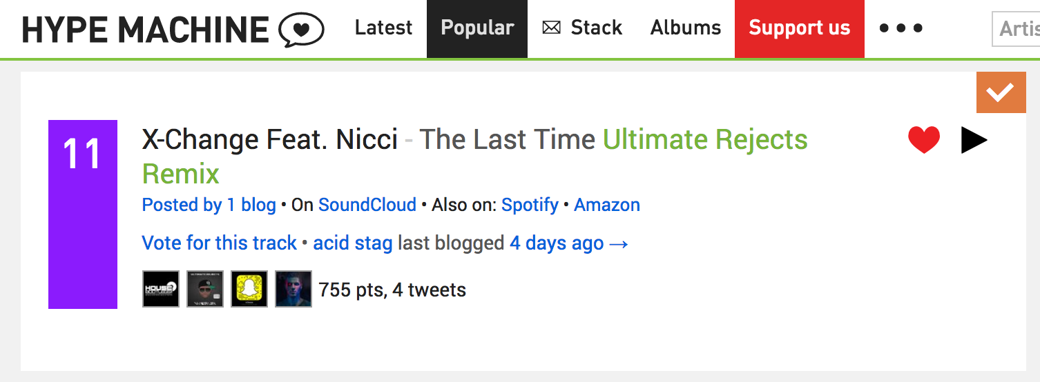 Hype Machine Top Twitter Tracks July 2017 X-Change Ultimate Rejects Nicci - The Last Time Remix