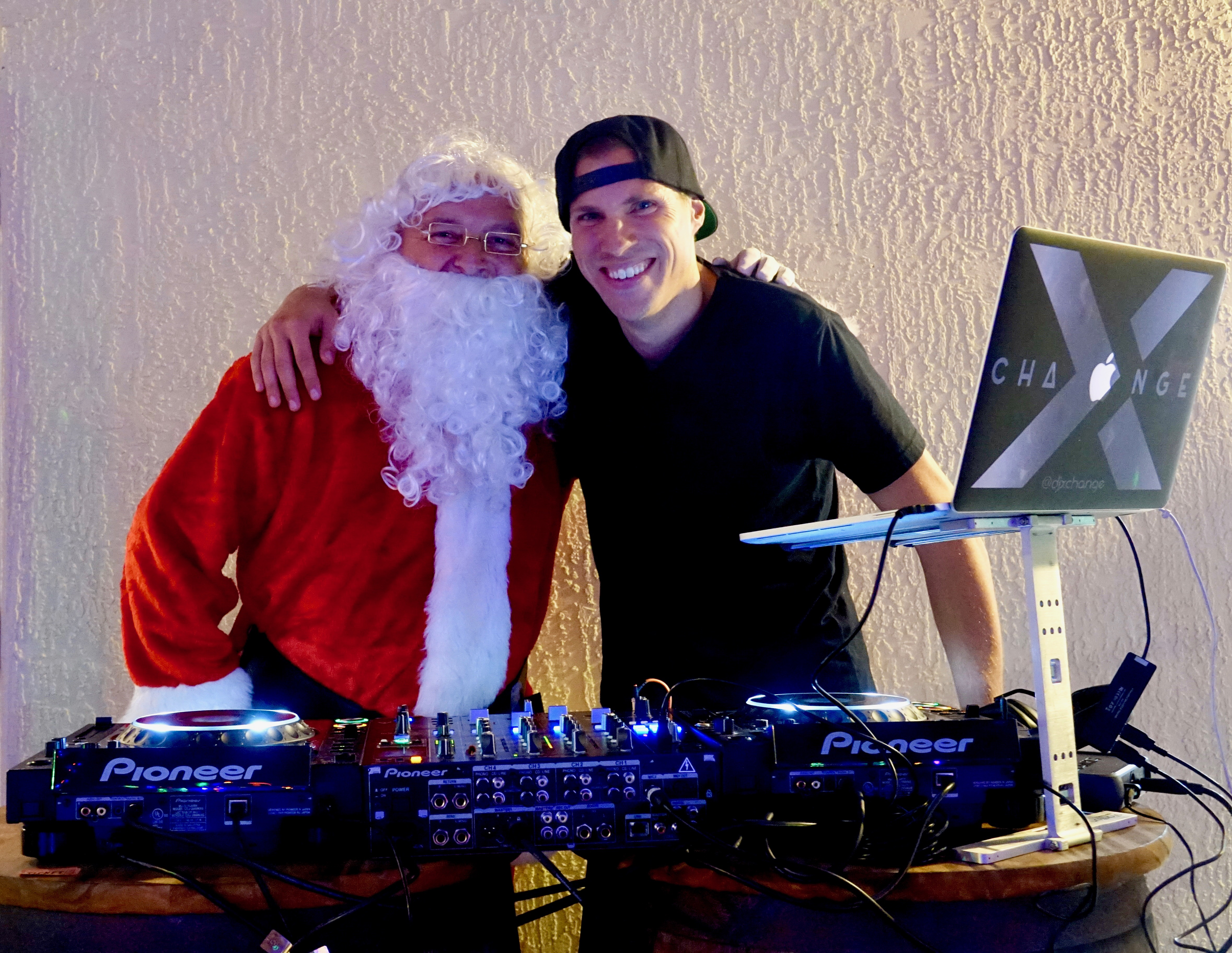 Toys For Tots 2019 X-Change and Santa Claus in DJ Booth